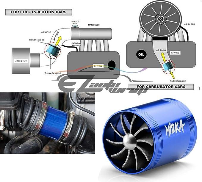 Mi2KA Turbine Air Intake Fuel Gas Saver Dual Fan Double Turbonator Acceleration System Turbo 2.5-3.0 Silver