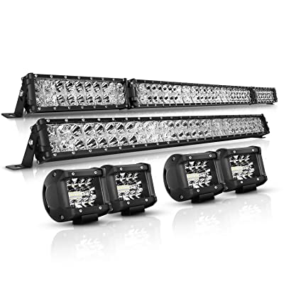 "LED Light Bar Kit, Autofeel 6000K OSRAM Chips 52 Inch + 32 Inch 35000LM Flood Spot Beam Combo White LED Light Bars + 4PCS 4"" LED Light Pods Combo Fit for Jeep Wrangler Ford Truck Boat: Automotive"