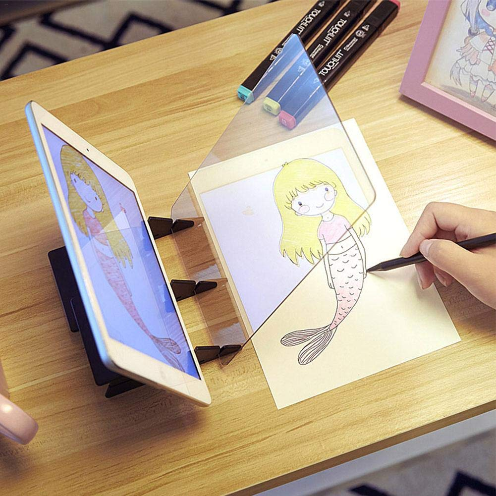 Ridecle Optisches Zeichenbrett tragbares Zeichenpapier Kopierblock Einfaches Zeichnen Skizzierwerkzeug St/änder Bildprojektor Reflektionstabelle Bedienfeld Skizzenassistent Hilfe