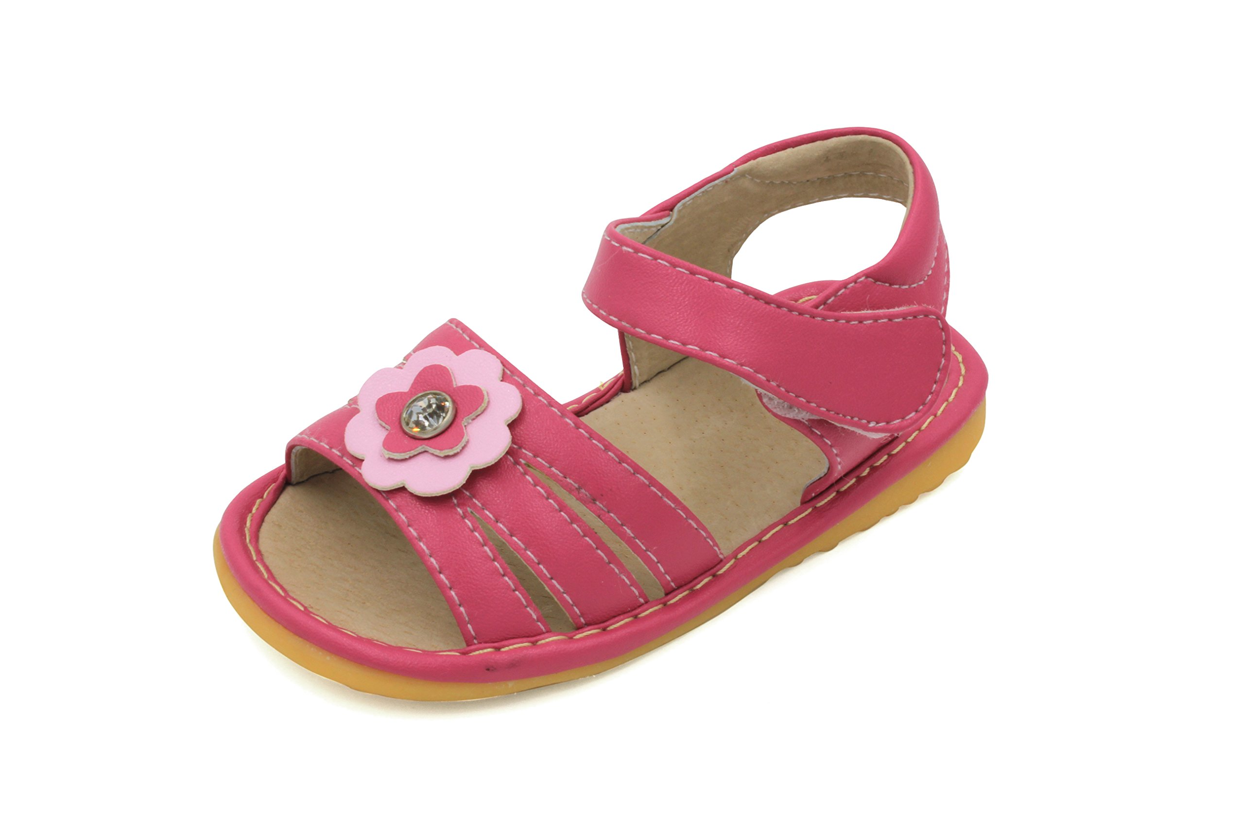 Little Mae's Boutique Hot Pink With Crystal Flower Girl Squeaky Sandals Shoes (8)