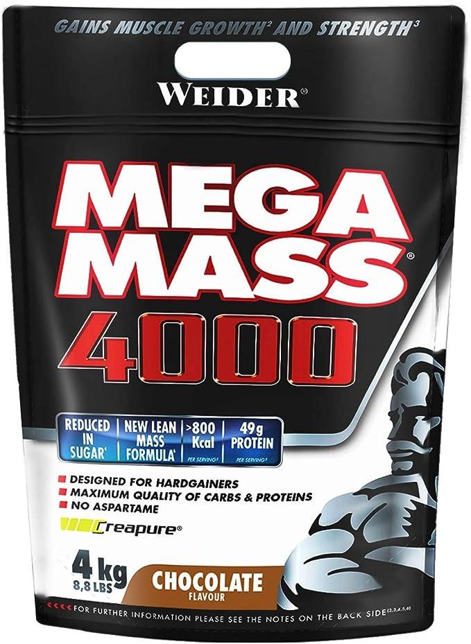 Weider Mega Mass 4000 Sabor Chocolate (4000 g). 69% de hidratos.Enriquecido con Vitaminas y Minerales. Con menos azúcares