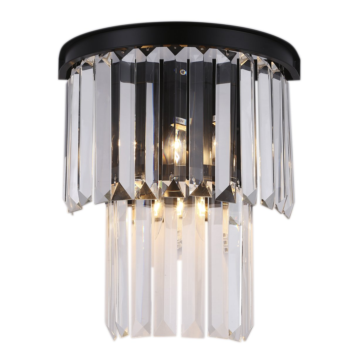 Crystal Prism Wall Sconce Lamp 3 Lights Ceiling Light Creative Modern Simple Wall Lamp Hotel Retro Bedside Living Room Bedroom Wall Light Black Metal + Clear Crystals CZ096B