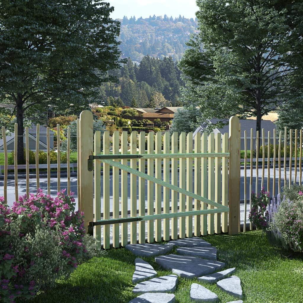 Tidyard Portail de Jardin//Cl/ôture de Patio en Bois de Pin Impr/égn/é FSC Style Naturel 100 x 100 cm