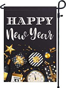 PAMBO Happy New Year Decorations Garden Flags for Outside,Burlap 12x18 Double Sided Garden Flag for Yard Outdoor Decoration