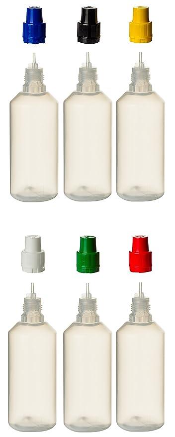 Juego de 6 PP de botellas de 100 ml cada uno con cierres multicolores y un