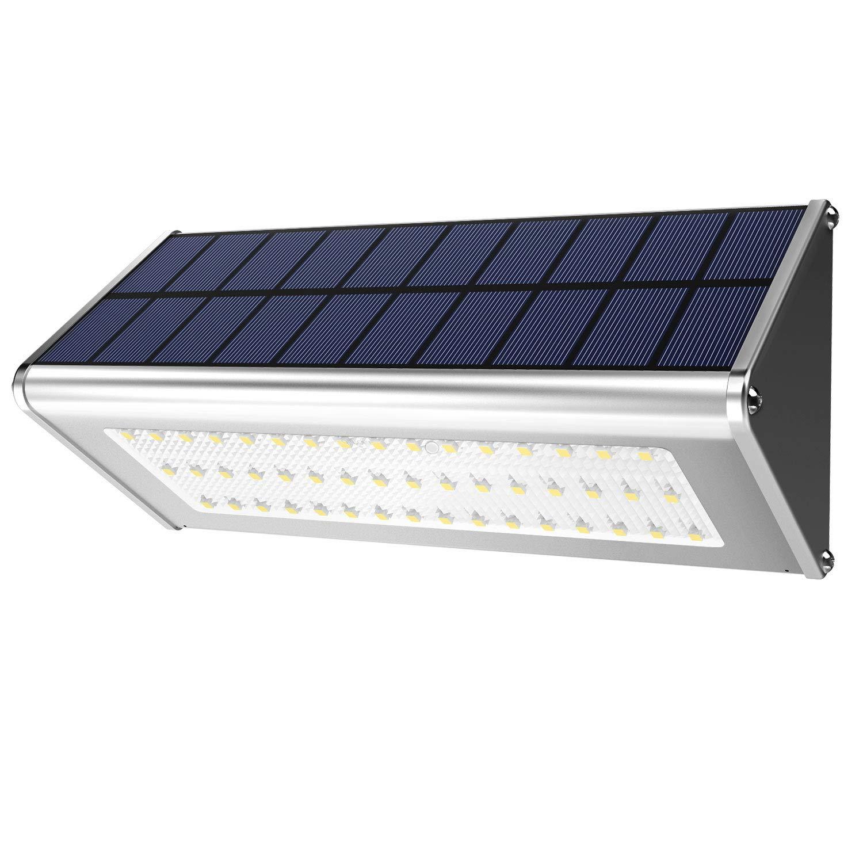 WBESEV Solar Lights Outdoor 1100 Lumens (Max) 48 LED Motion Sensor Light Aluminum Alloy Housing Waterproof Wireless for Outdoor Security Garden Yard Wall Light (48 LED Radar 2018 New Version)