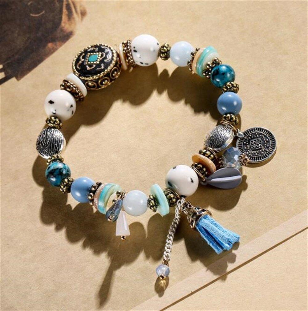 Yudanwin Necklace Beading Accessories Tassel Coin Pendant Bracelet Beaded Bracelet(Blue)