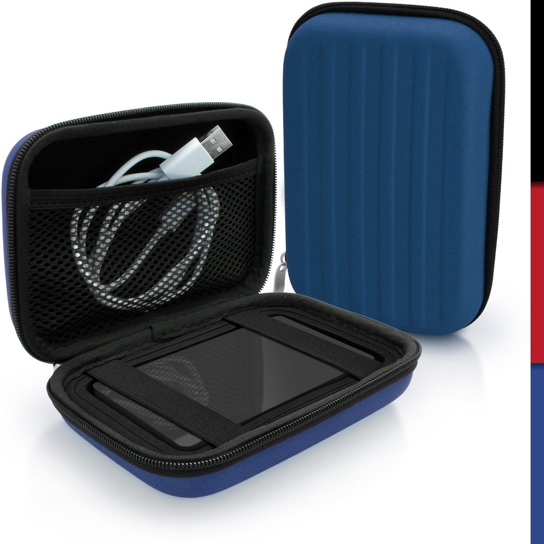 iGadgitz Blue EVA Hard Travel Case Cover for Lacie Rugged Thunderbolt, Triple, Mini, USB-C Portable External Hard Drives