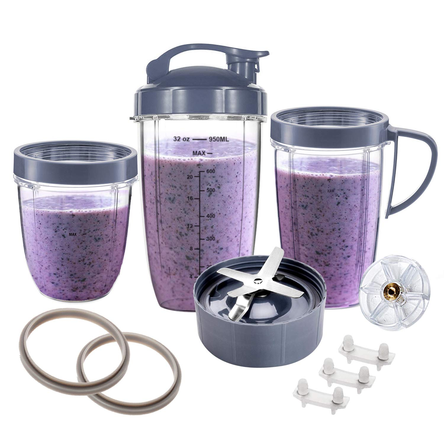 ELEFOCUS 13 Pieces Replacement Set for NutriBullet Cup 600W 900W Series - Included Cups & Blade &Top Gear & Gaskets & Shock Pad Replacement - Perfect for NutriBullet High-Speed Blender/Mixer System