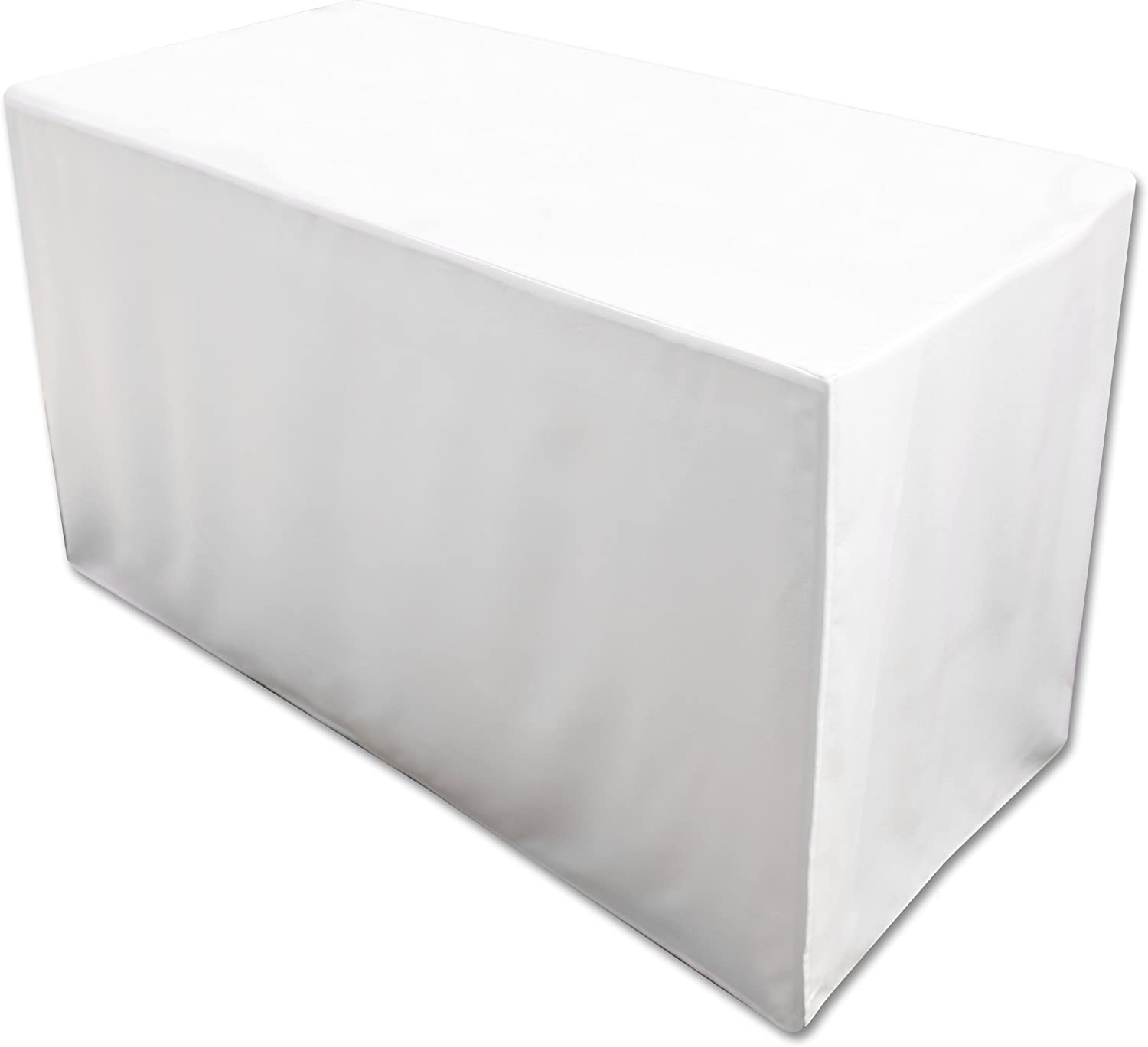 Amazon Com Folding Table Cover Fitted Tablecloth For 4 Foot Folding Table White Home Kitchen