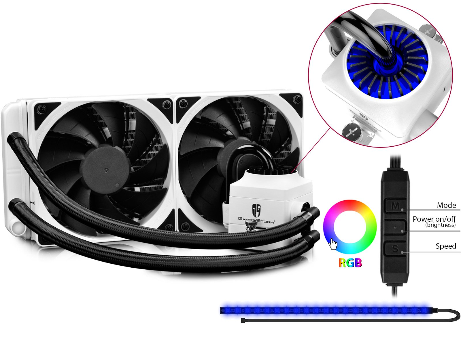 DEEPCOOL CAPTAIN 240EX RGB White CPU Water Cooling System CPU Cooler with RGB Lighting Pump and Strip, 2×120mm Dual-fan Radiator, AM4 Compatible, 3-year Warranty by DEEPCOOL