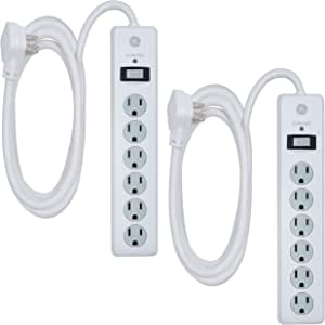 GE, White, 6 Outlet Surge Protector 2 Pack, 10 Ft Extension Cord, Power Strip, 800 Joules, Flat Plug, Twist-to-Close Safety Covers, 46862