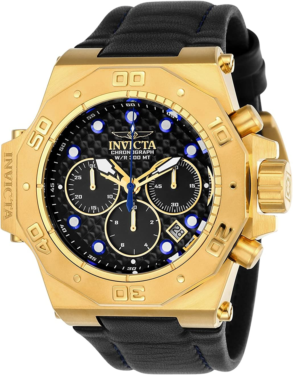 Invicta Men s Akula Quartz Watch with Leather Calfskin Strap, Black, 32 Model 23103