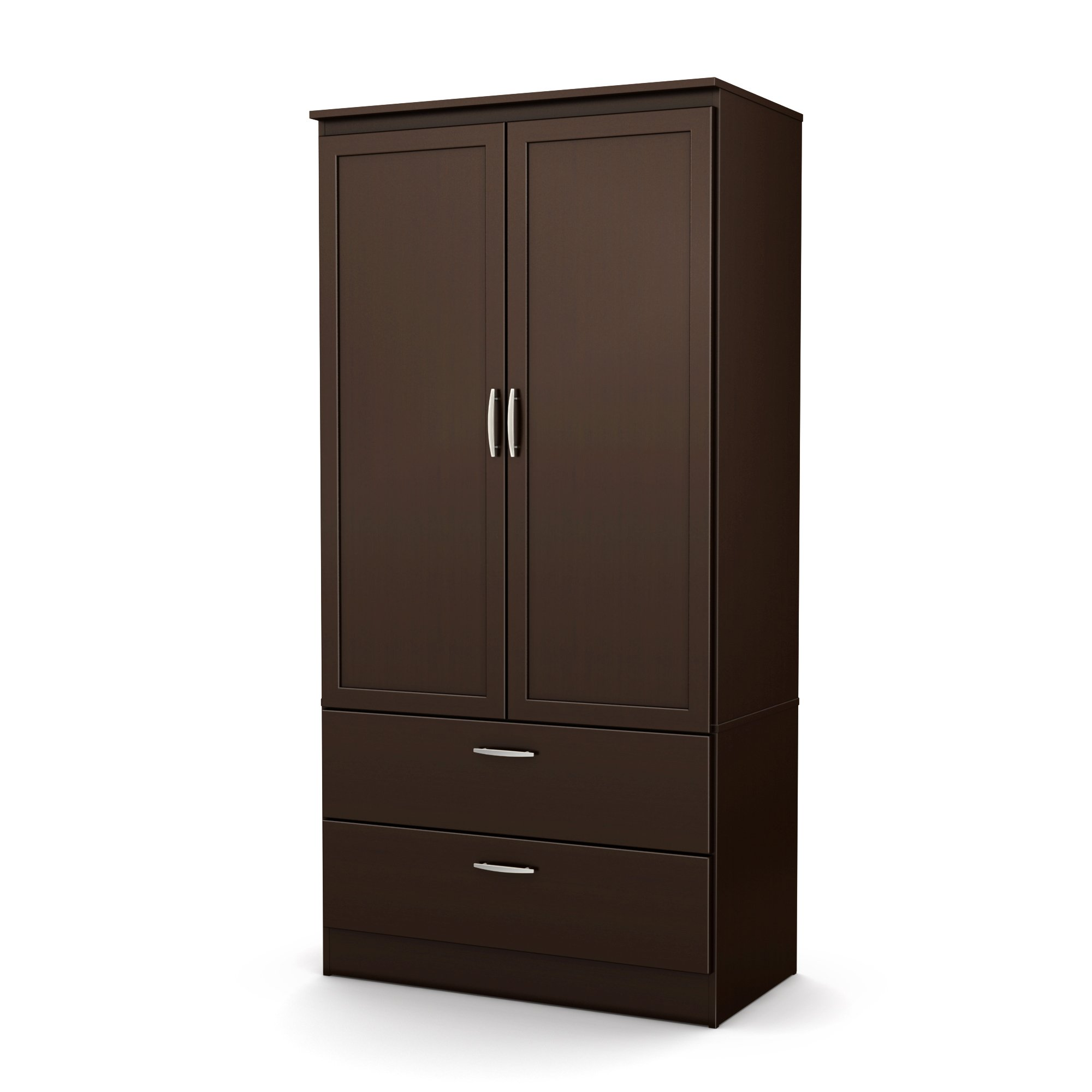 South Shore 5359038 2-Door Wardrobe Armoire with Adjustable Shelves and Storage Drawers, Chocolate