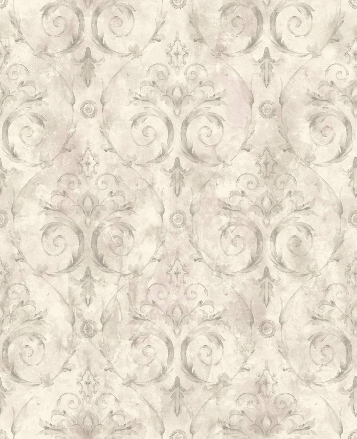 Floral Damask Wallpaper Purple Lilac Silver Vintage Victorian