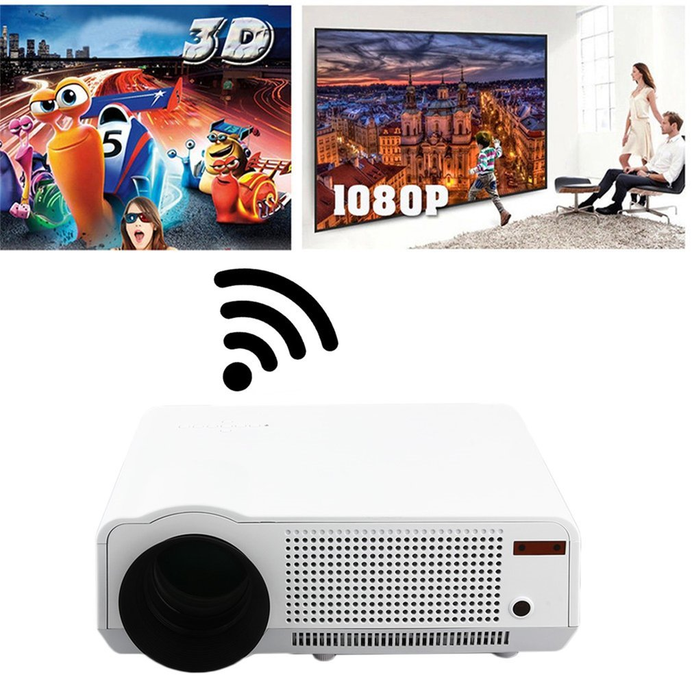 DreamlandS Portable 5000 Lumens Full HD 1080P LED86 LCD 3D WiFi Home Theater Projector Cinema Office Multimedia Projector by DreamlandS