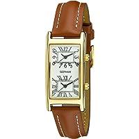 Gotham Unisex Gold-Tone Dual Time Zone Leather Strap Watch # GWC15090GT