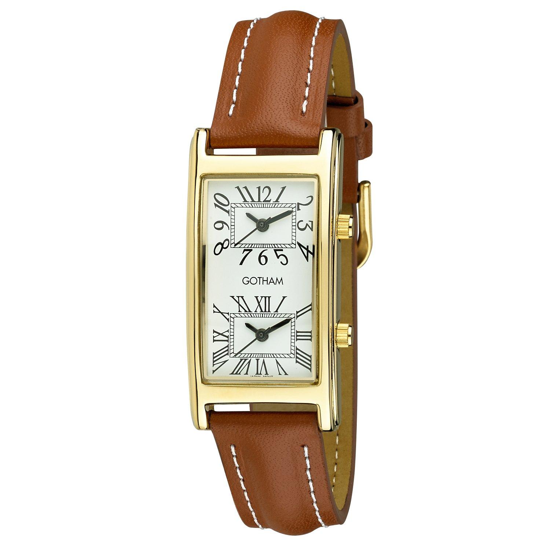Gotham Unisex Gold-Tone Dual Time Zone Leather Strap Watch # GWC15090GT by Gotham