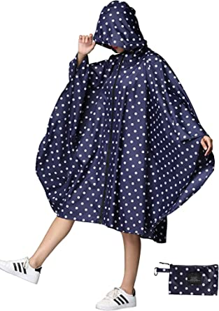 New! Size Small Details about  /Womens Raincoat Rain Jacket Poncho In Blue