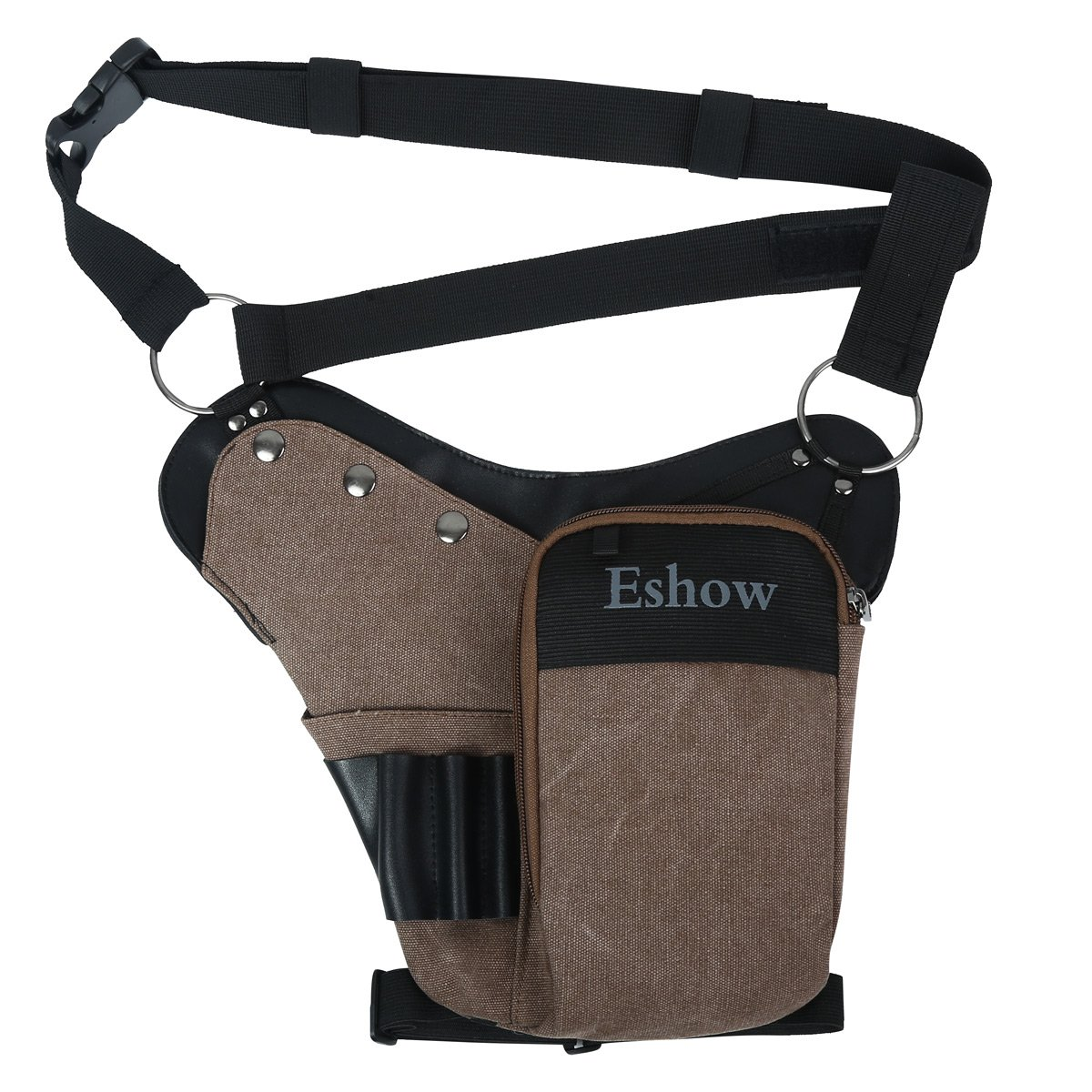 Eshow Sac de Jambe pour outils Sac à outils tactique Trousse à Outils électrotechnique porte-outil Accessoire de ceinture pour Bricolage/électricien / Plombier/Menuisier Marron