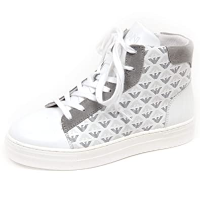 Armani E8894 Sneaker Alta Bimbo White Grey Junior Scarpe Shoe Kid Boy   Amazon.it  Scarpe e borse 4b8f9c4a35e