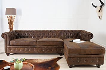 Pleasing Casa Padrino Chesterfield Corner Sofa In Antique Brown Inzonedesignstudio Interior Chair Design Inzonedesignstudiocom