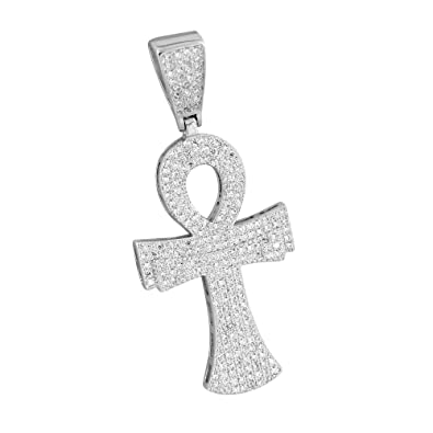 Amazon sterling silver ankh cross pendant iced out custom sterling silver ankh cross pendant iced out custom design simulated cz stones aloadofball Choice Image