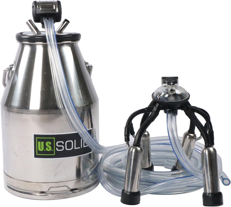 【USA STOCK】25L Milker Bucket Tank Milking Barrel with L80 65ppm 60//40 Pulsator