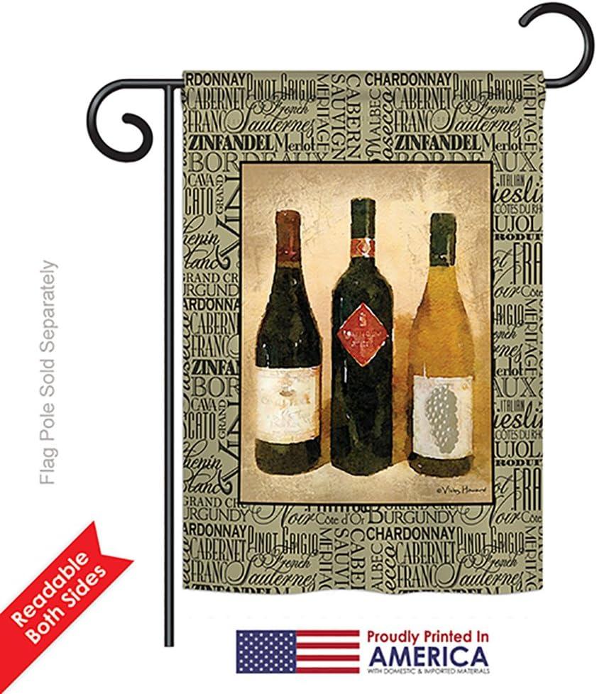 Breeze Decor G167043 3 Bottles Happy Hour Drinks Wine Double Side Decorative Garden Flag 13 X 18 5 Multicolor Garden Outdoor