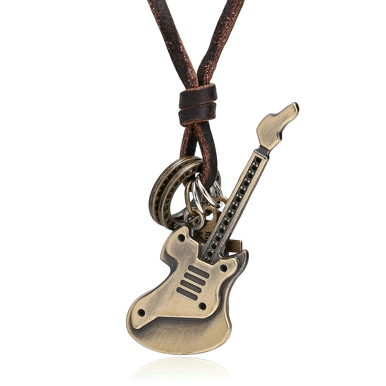 amdxd Cadena de piel de joyas hombre S de guitarra colgante oro ...