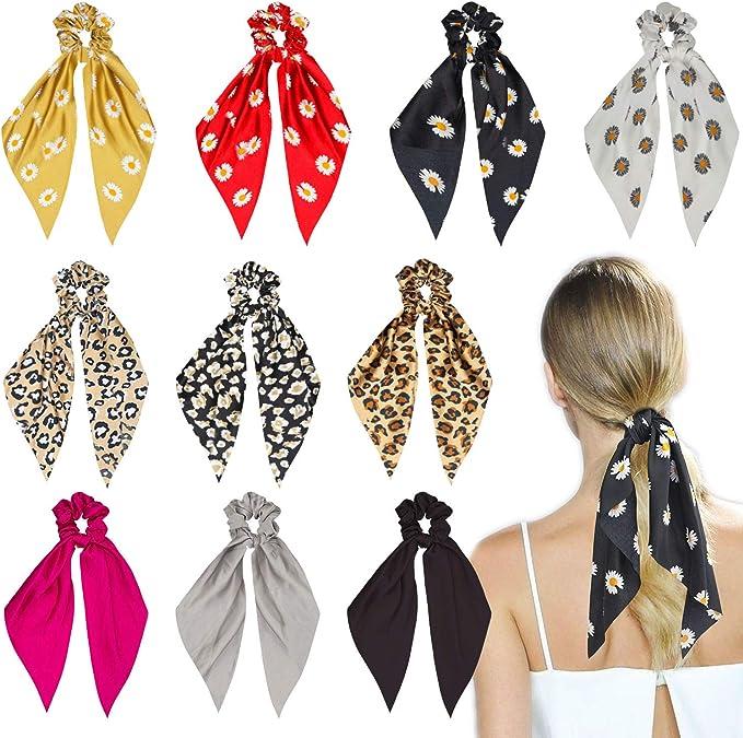10 piezas Bowknot Hair Scrunchie Scarf Ponytail Holder para mujeres niñas, incluyendo 3 colores lisos y 3 estampado de leopardo y 4 estampado de flores: Amazon.es: Belleza