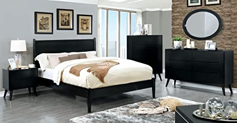 Lennart Mid Century Modern Style Black Finish Cal. King Size 6 Piece Bedroom