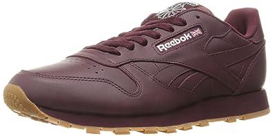 Reebok Men's Cl Lthr Gum Cu Fashion Sneaker, Maroon/White Gum, ...