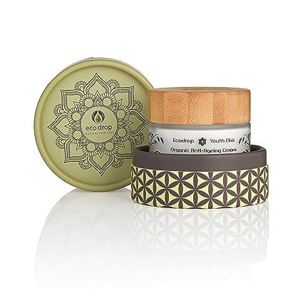 Ecodrop Organic Anti Ageing Cream   Crema Tratamiento Facial Antiedad Avanzada para Mujeres y Hombres   Completamente Natural   Con Ácido Hialurónico, ...