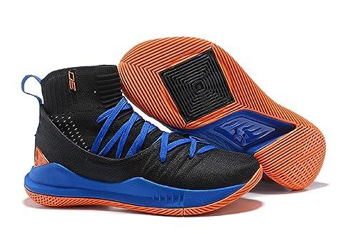 3d57687d6c8 UnderArmour UA Curry 5 Black-Blue Men s Basketball Shoes (7 UK)  Buy ...