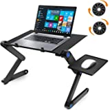 SYOSIN ノートパソコンスタンド PCスタンド 二つ冷却ファン付き 折りたたみ式テーブル パソコンデスク ベッドテーブル 高さ/角度調整可能 姿勢改善 腰痛/猫背解消 放熱対策 滑り止め アルミ製 PC/MacBook/ラップトップ/iPad/タブレットに対応(ブラック)