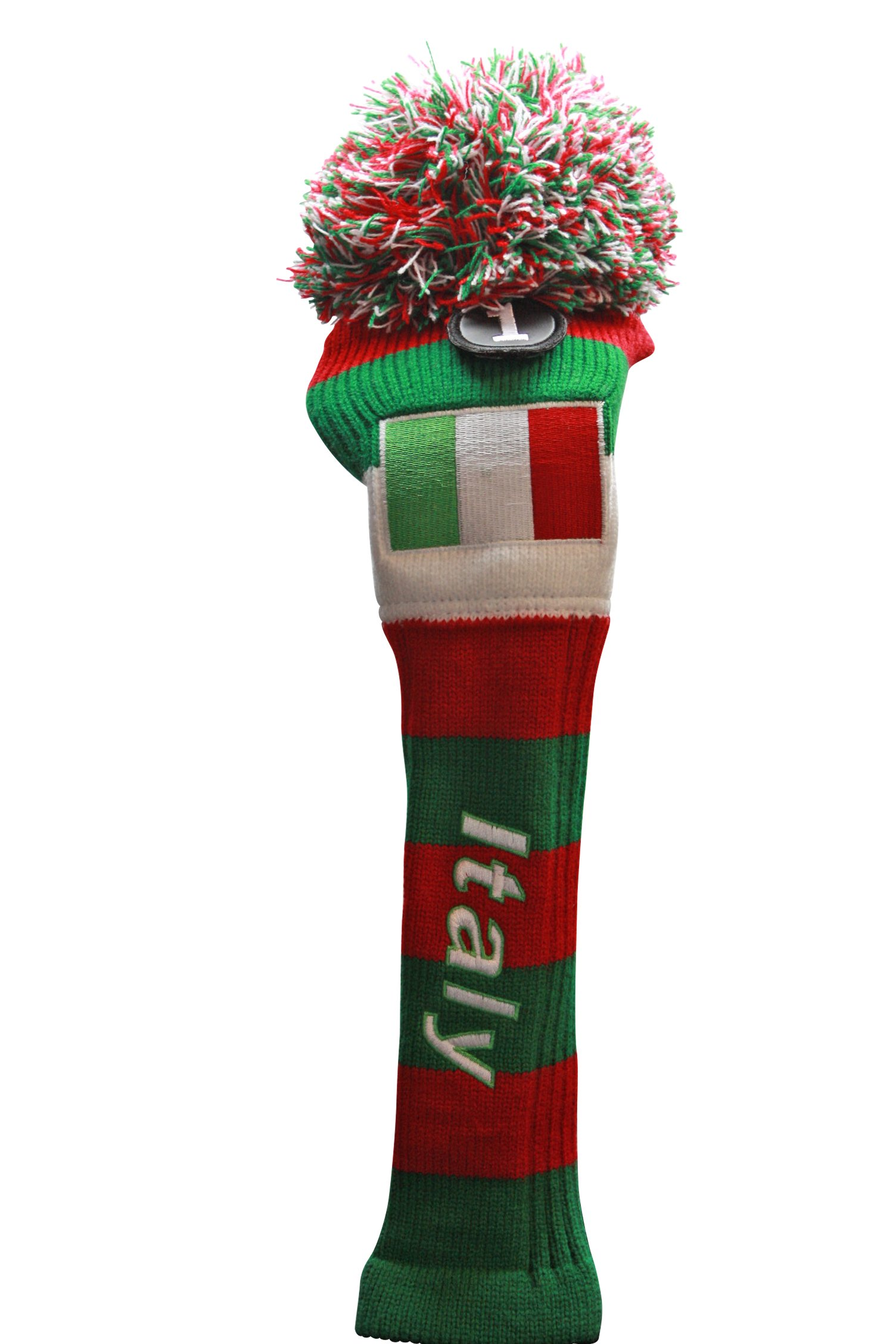 Majek Italy Driver Golf Club Head Cover #1 Italian Drivers Headcover Red White Green Pom Pom Retro Knit Vintage Classic Throwback Style Head Covers
