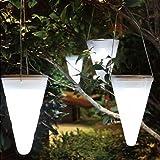 Set of 6 Solar Outdoor Garden Hanging Tree Cornet Cone LED Lights