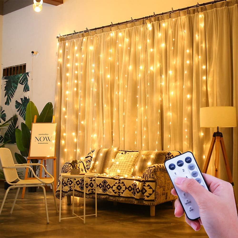 ShinePick Cortina de Luces,USB 3Metros * 3Metros 300 LEDS 8 Modos de Luces IP44 Resistente al Agua Estrellas LED Cortina de Luces para Navidad Decoración Fiesta Fijo, Interior (Blanco Cálido)