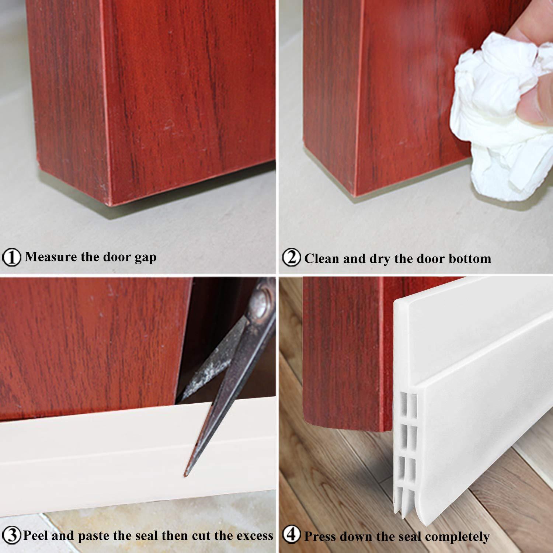 Door Draft Stopper for Exterior or Interior Doors White DBS001 Door Weather Stripping with 1mm Thick Strong Adhesive Waterproof Soundproof Door Bottom Seal