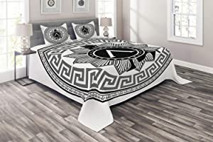 Ambesonne Retro Coverlet, Concept of Greek Pattern Spartans Silhouette Retro Design, 3 Piece Decorative Quilted Bedspread Set with 2 Pillow Shams, King Size, Grey White
