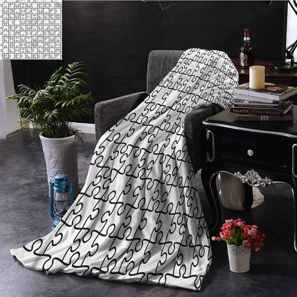 SSKJTC Black and White Black and White Throw Blanket Jigsaw Puzzle Game Dorm Bed Baby Cot Traveling Picnic W60 xL50