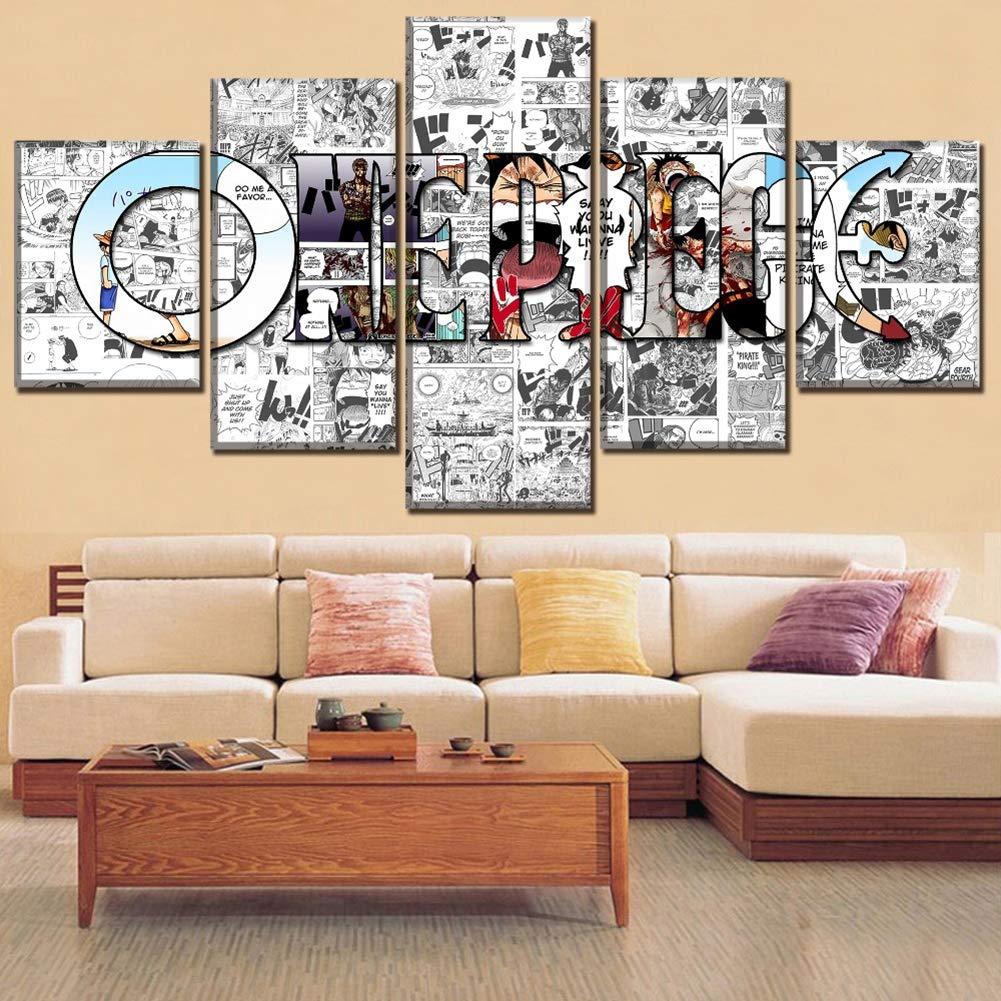 XLST Leinwand 5 Stücke One Piece Malerei Anime Bilder Modulare Poster Wohnzimmer Art Wall Dekor,A,40X60X240X80X240X100X1