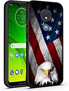 Moto G7 Case,Moto G7 Plus Case,Bald Eagle American Flag Slim Anti-Scratch Shockproof Leather Grain Soft TPU Back Protective Cover Case for Motorola Moto G7
