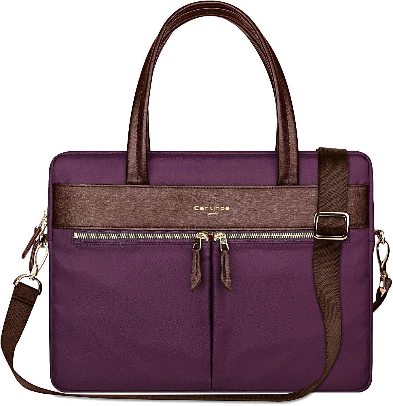 Cartinoe Laptop Tote Bag, Women Waterproof Laptop Bag Briefcase RFID Blocking Ultrathin Nylon Business Ladies Work Handbag Shoulder Messenger Carrying Bag for 14 15 inch MacBook Ultrabook, Purple
