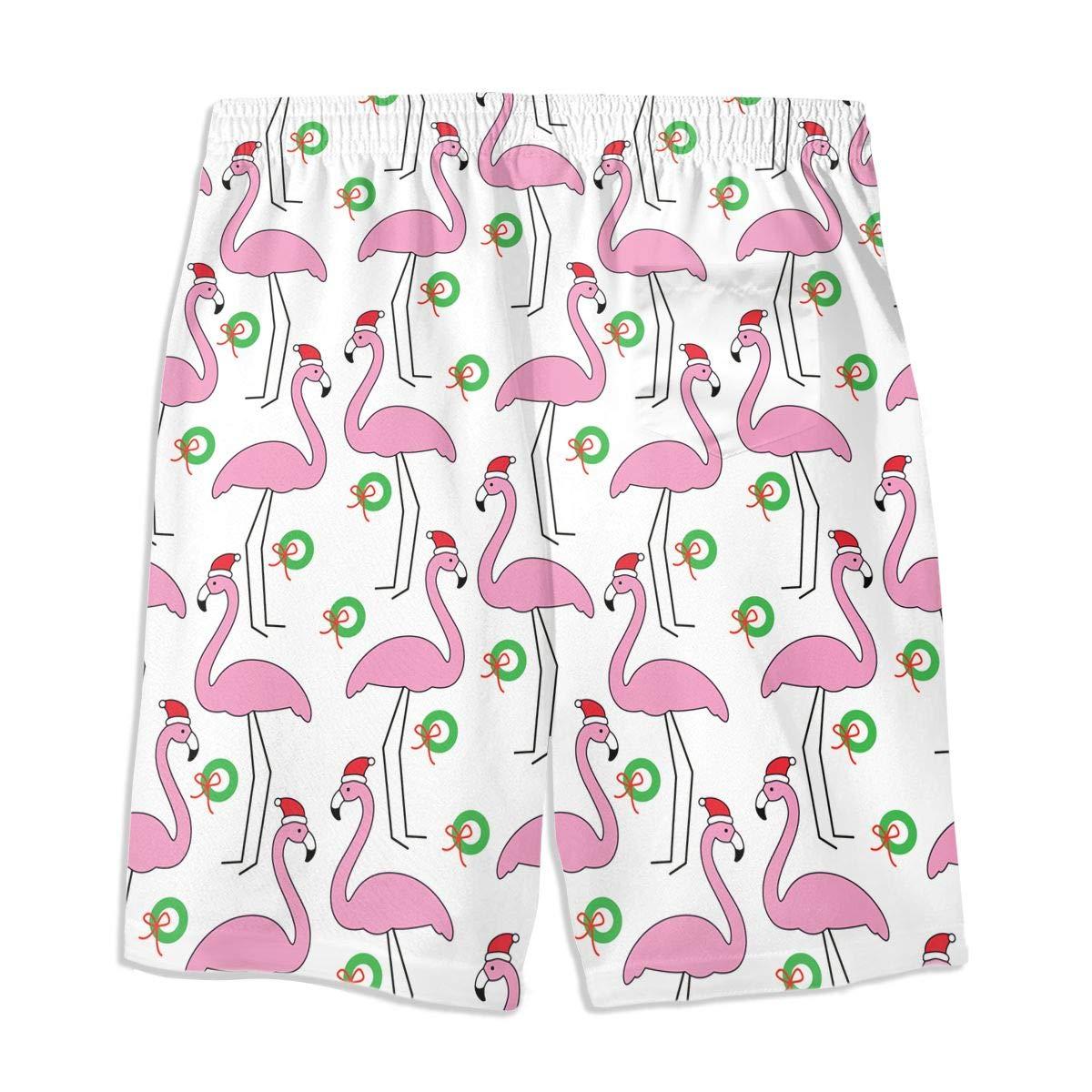 Christmas Hat Fashionable Flamingo Teen Swim Trunks Bathing Suit Shorts Board Beach