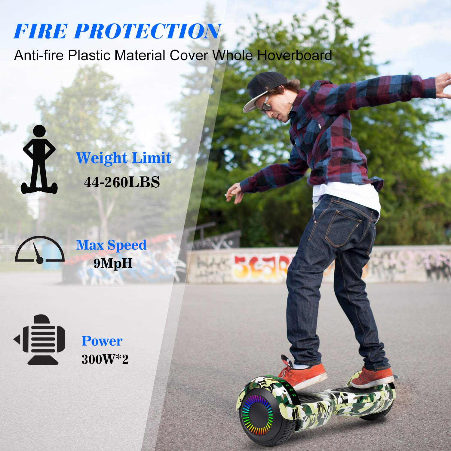 Hoverboard Self Balancing Scooter 6.5'' Two-Wheel Self Balancing Hoverboard with Bluetooth Speaker and LED Lights Electric Scooter for Adult Kids Gift UL 2272 Certified Fun Edition - Woodland Camo by SISIGAD (Image #5)