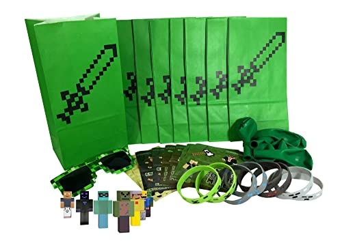 Pixel Miner, Crafting Style Party Favor Sets (8-Pack) - Birthday Party Supplies Kit Includes Goody Bags, Stickers, Wristbands, Mini Character Toys, Balloons and ONE Bonus Pair of Sunglasses