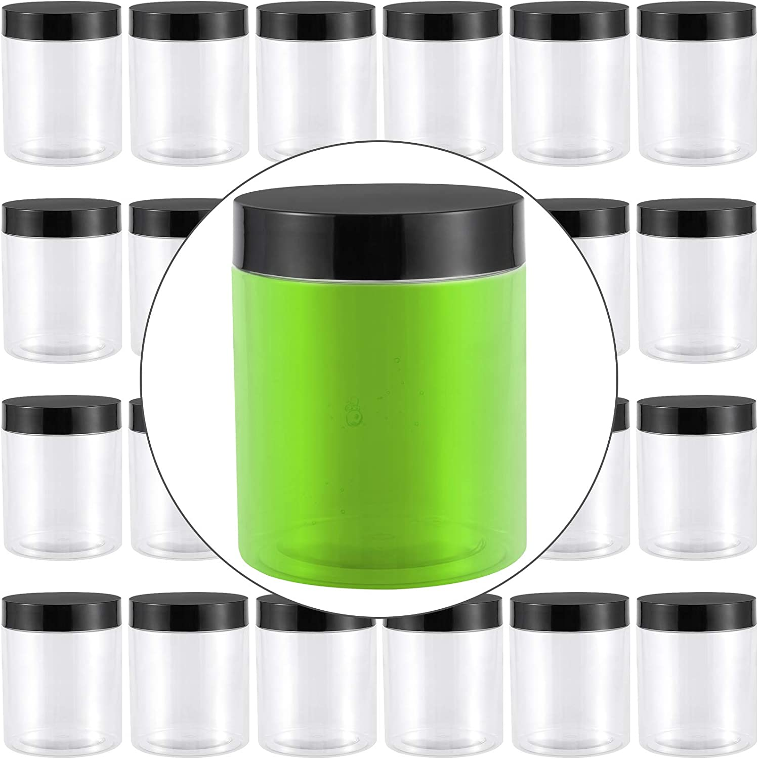 FAATCOI 24 Pack 8 OZ Plastic Jars Storage Containers, Clear Plastic Storage Jars with Black Lids Wide Mouth Bottles for Cosmetic Cream Light Clay DIY Craft