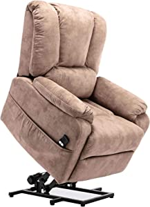 Merax Power Lift Recliner Chair Lazy Sofa for Elderly, Heavy-Duty Fuction with Remote Control, Office or Living Room, Camel